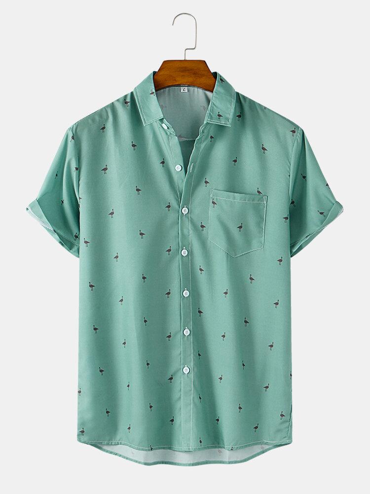 Mens Animal Printed Casual Short Sleeve Shirts With Pocket