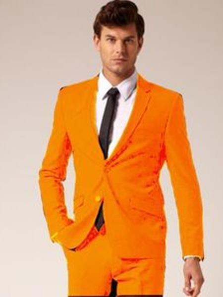 Mens 2 Button Notch Lapel Orange Suit