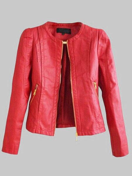 Milanoo Red Leather Jacket Women Leather Coat Zippered Long Sleeve Motorcycle Jacket