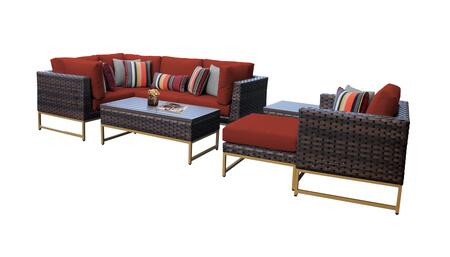 Barcelona BARCELONA-08n-GLD-TERRACOTTA 8-Piece Patio Set 08n with 3 Corner Chairs  1 Club Chair  1 Armless Chair  1 Ottoman  1 End Table and 1 Coffee
