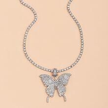 Collar con mariposa con diamante de imitacion