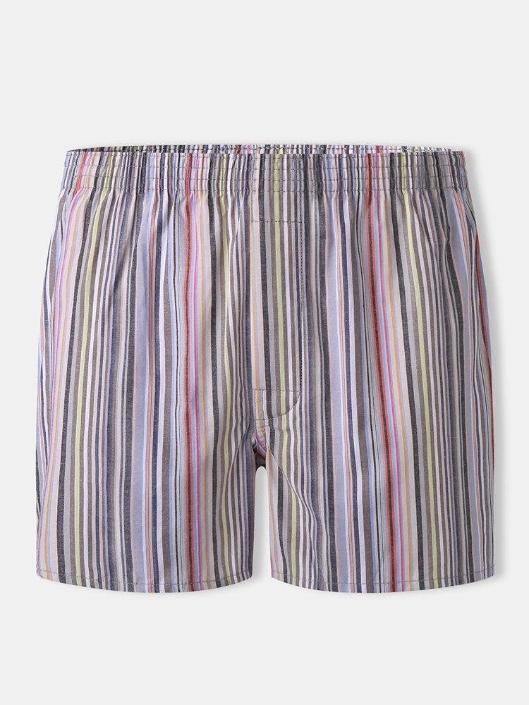 Men Cotton Comfortable Striped Arrow Boxer Briefs Loose Home Mini Underpants