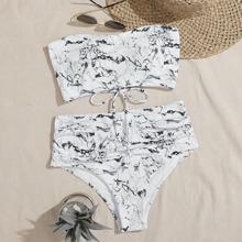Marble Print High Waisted Bikini Swimsuit