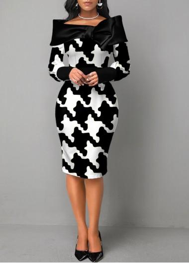 Wedding Guest Dress Color Block Houndstooth Print Long Sleeve Dress - XL