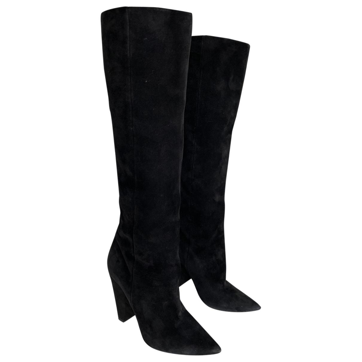 Saint Laurent Niki Black Suede Boots for Women 38.5 EU