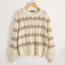 Drop Shoulder Open Knit Chevron Sweater