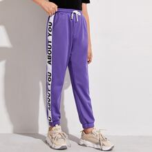Boys Letter Graphic Sideseam Sweatpants
