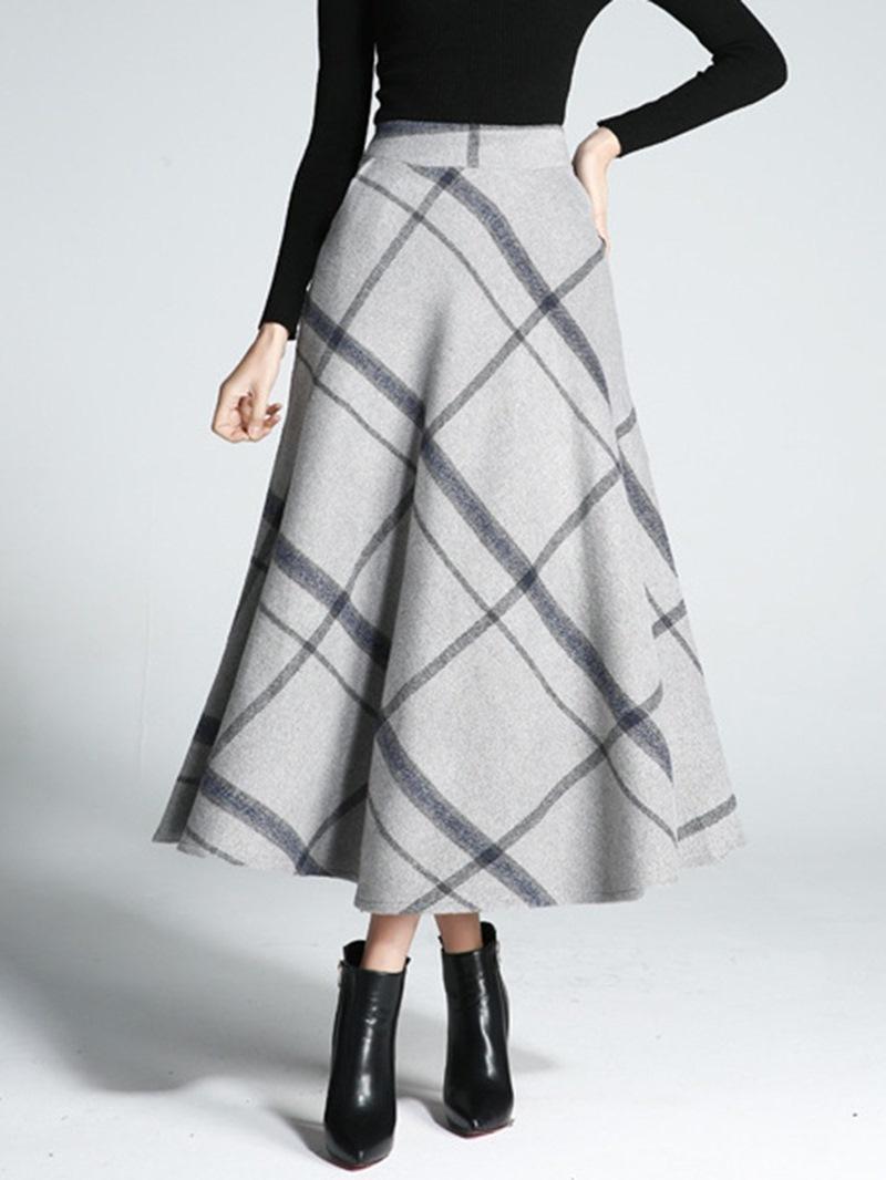 Ericdress Casual Mid-Calf Color Block A-Line Skirt