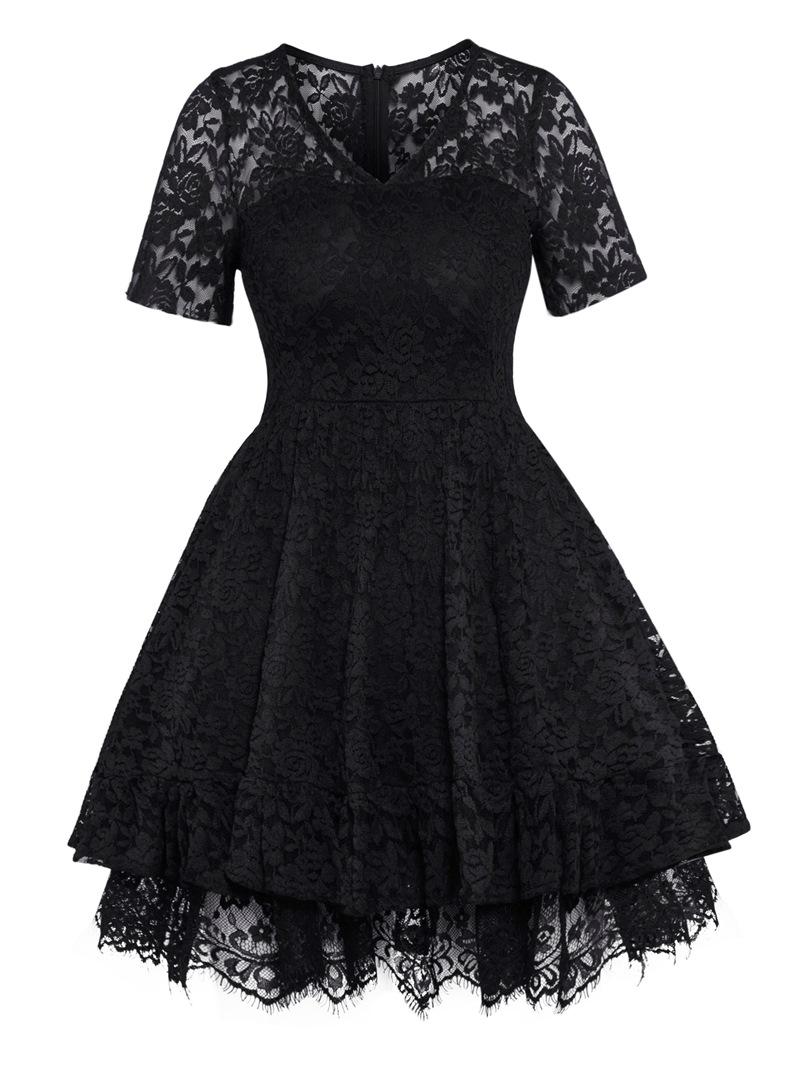 Ericdress V-Neck High-Waist Hollow Plain Women's Lace Dress