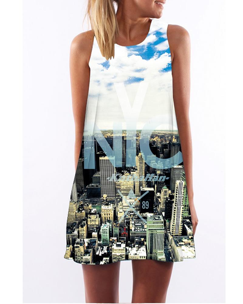3D City View Print Crew Neck Sleeveless Women Summer Dress