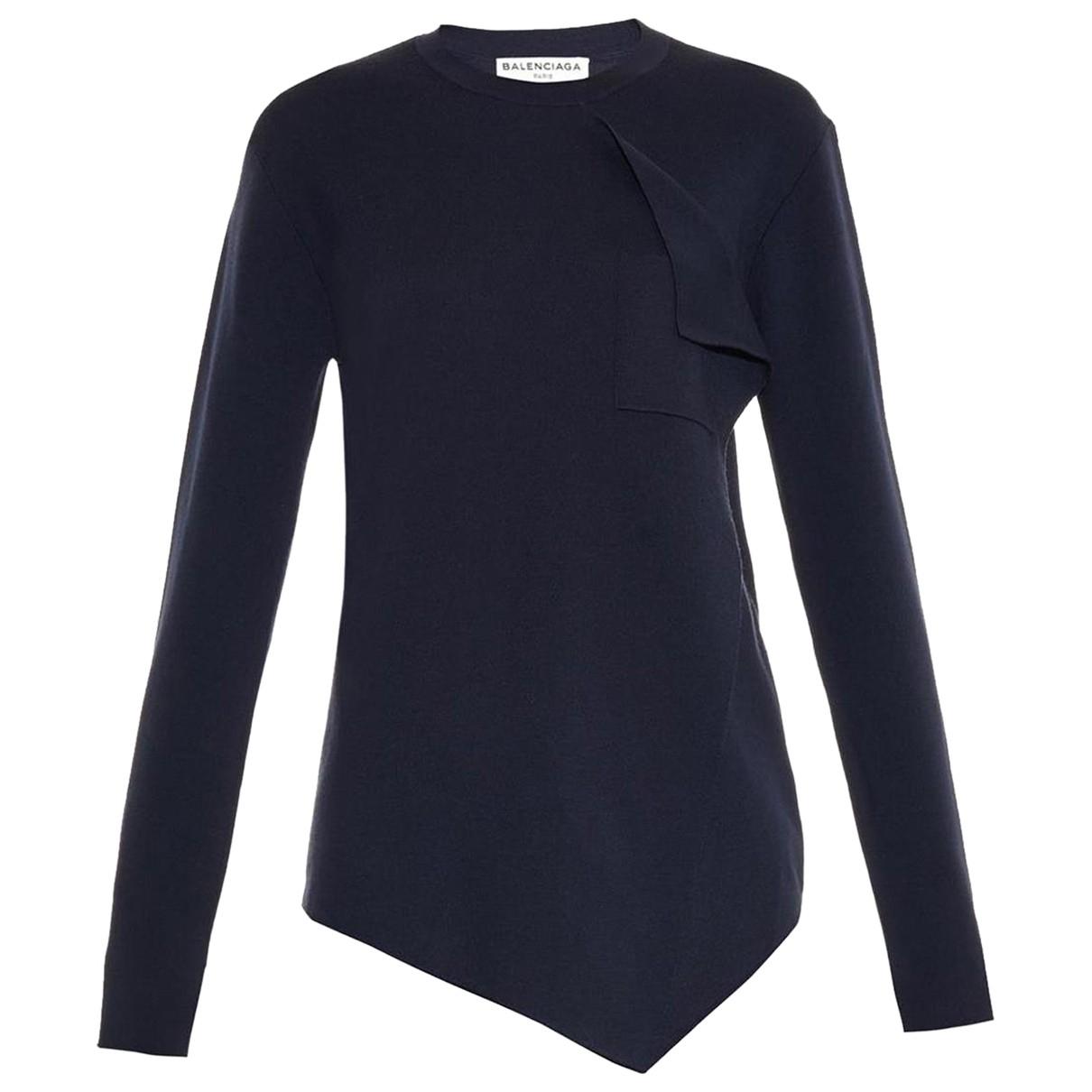 Balenciaga - Pull   pour femme en laine - bleu