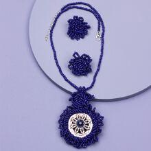 1 pieza collar con diamante de imitacion y cuenta de semilla con 1 par pendientes