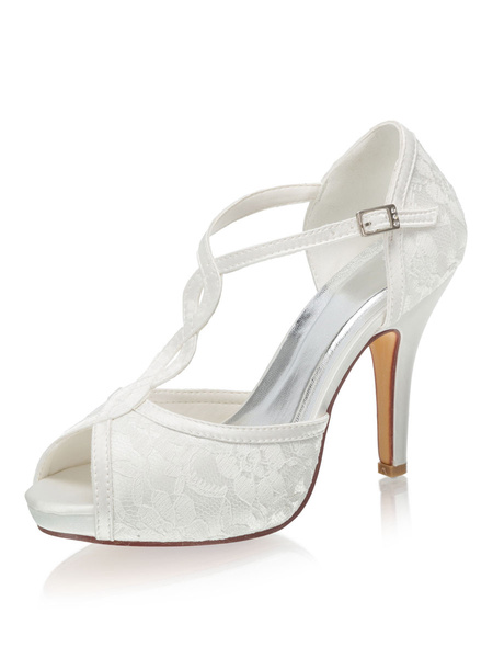 Milanoo Peep Toe Platform T-type Wedding Shoes Stiletto Heel Bridal Shoes