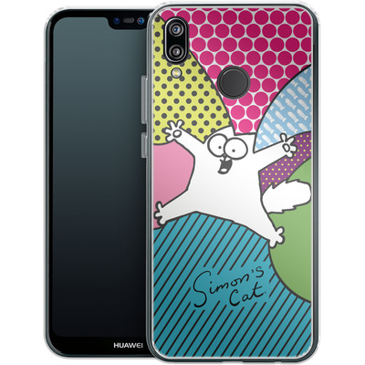 Huawei P20 Lite Silikon Handyhuelle - Simon´s Cat Colourful Pattern von Simons Cat
