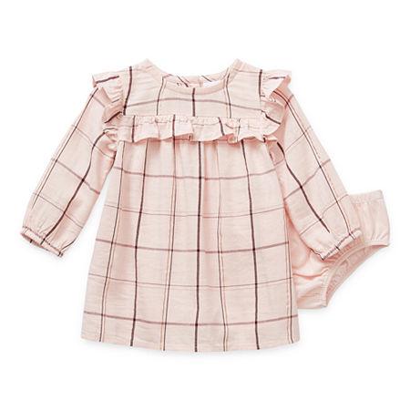 Okie Dokie Baby Girls Long Sleeve Babydoll Dress, 18 Months , Pink