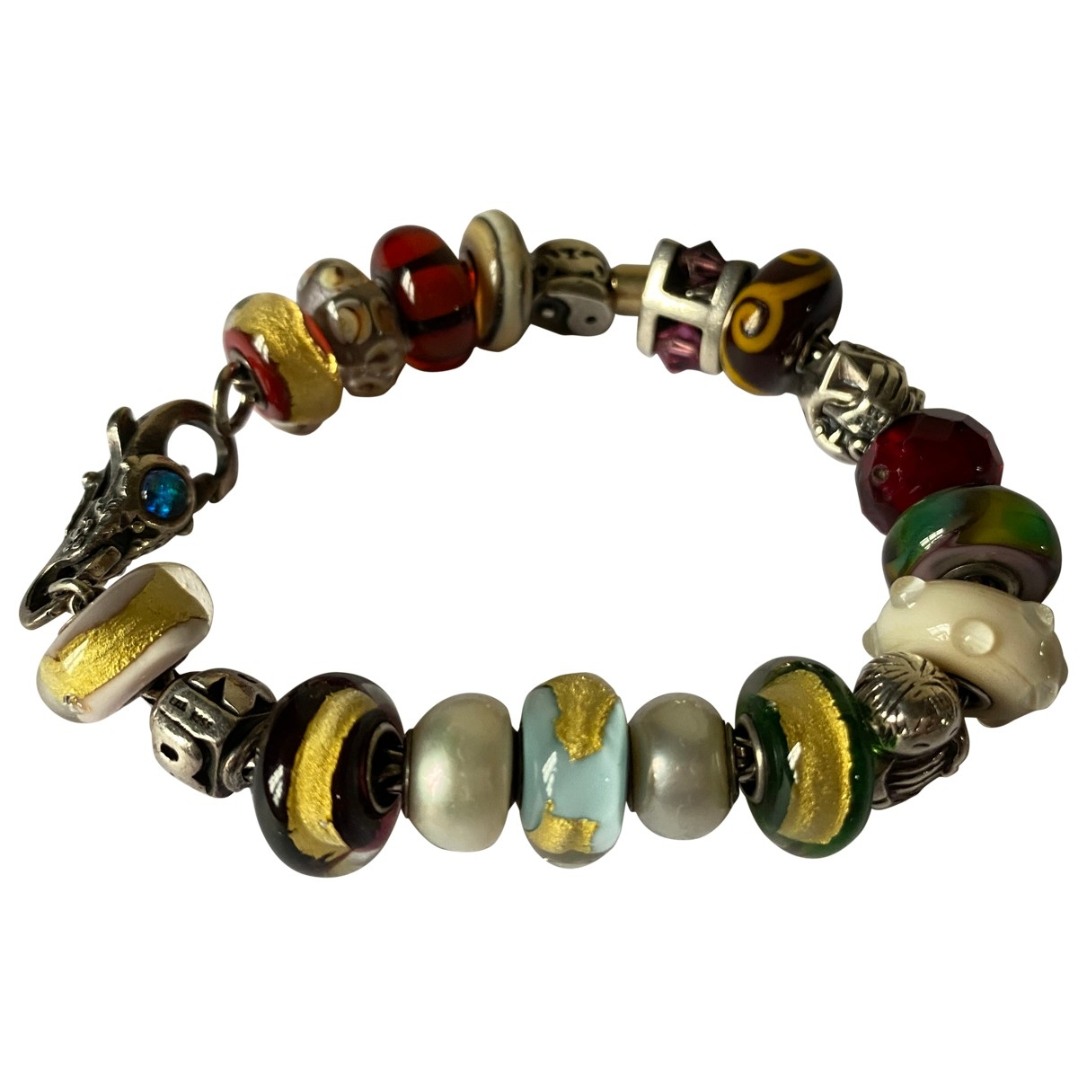 Non Signe / Unsigned Motifs Ethniques Armband in  Bunt Silber