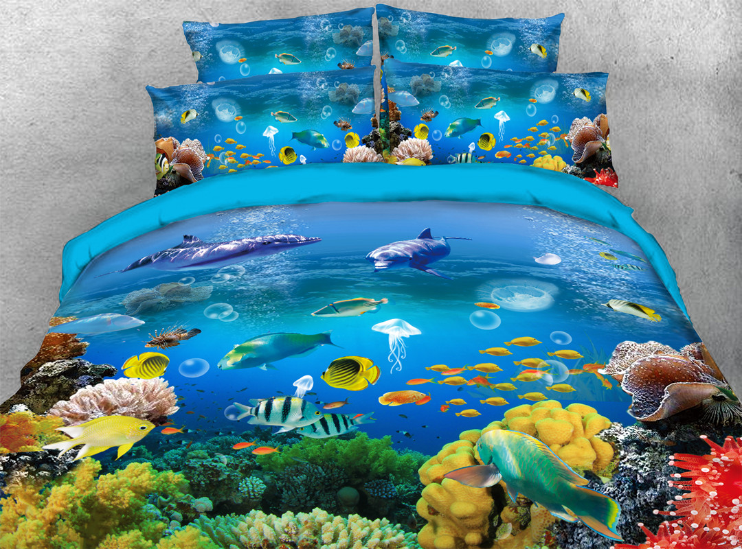 Underwater Fish 3D 4-piece No-fading Soft Bedding Sets Durable Reactive Printing Zipper Duvet Cover with Ties