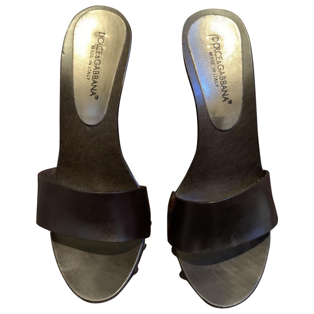 Dolce & Gabbana - Sabots   pour femme en cuir - marron