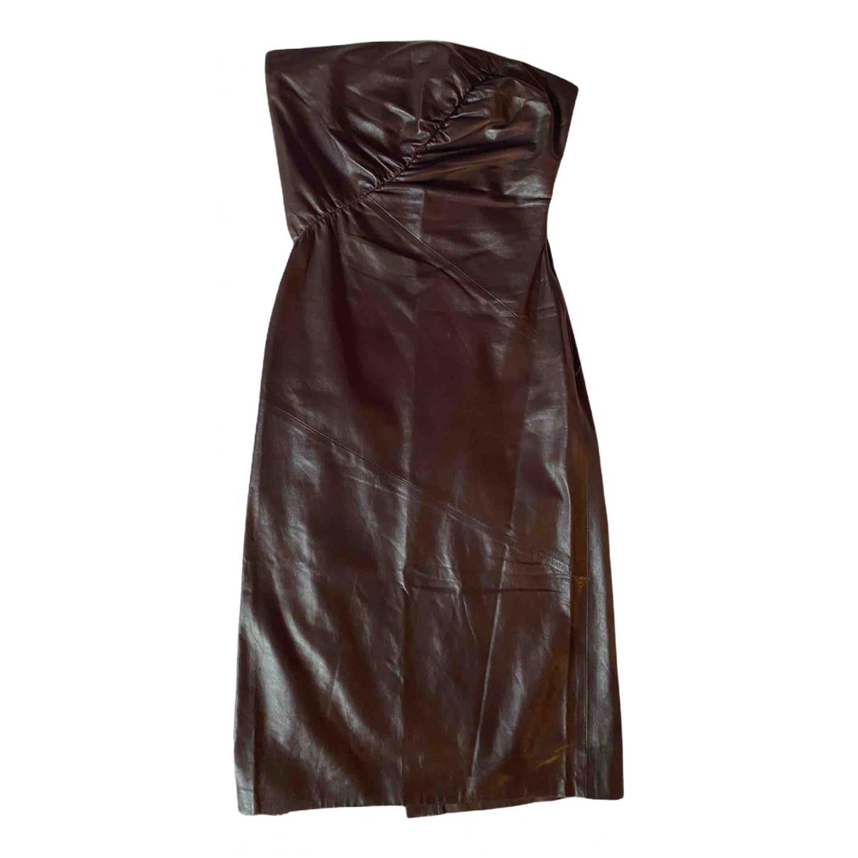 Gucci \N Kleid in  Braun Leder