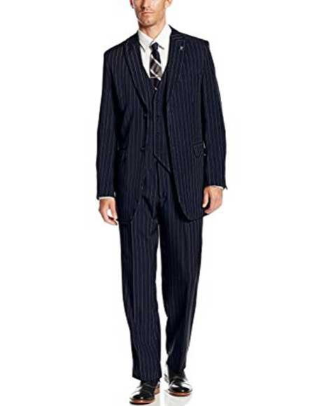 Men's 3 Piece Peak Polyester Single Pinstripe Big Tall Navy Blue Suit