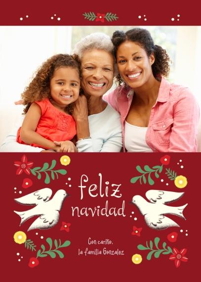 Tarjetas de Navidad 5x7 Cards, Premium Cardstock 120lb with Scalloped Corners, Card & Stationery -Feliz Navidad Doves