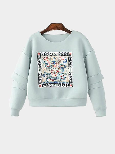 Yoins Loose Embroidery Pattern Cut Out Sweatshirt