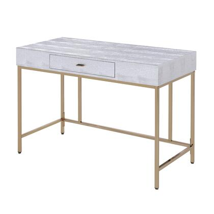 BM196710 Leatherette Upholstered Vanity desk with Metal Base and Floor Protectors  Silver and