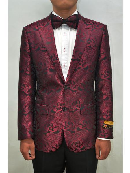 Alberto Nardoni Men Floral Fancy Sport Coat Bow Tie Prom Burgundy