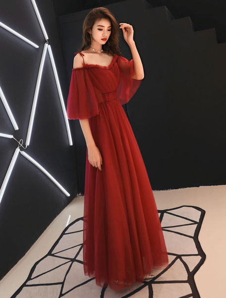 Milanoo Prom Dresses Long Off The Shoulder Tulle Maxi Formal Evening Dress