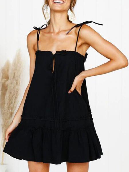 Milanoo Summer Dress White Straps Neck Adjustable Straps Ruffles Lace Up Cotton Sexy Beach Dress
