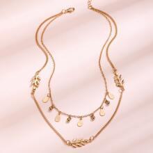Mehrschichtige Halskette mit Blatt Dekor