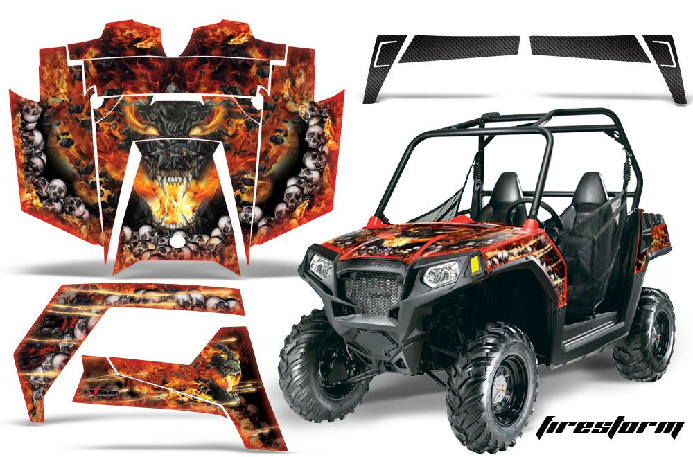 AMR Racing Full Custom UTV Graphics Decal Kit Wrap Firestorm Red Polaris RZR 570 Youth 14-19