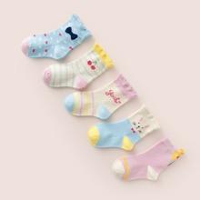 5 Paare Kleinkind Maedchen Socken mit Karikatur Grafik