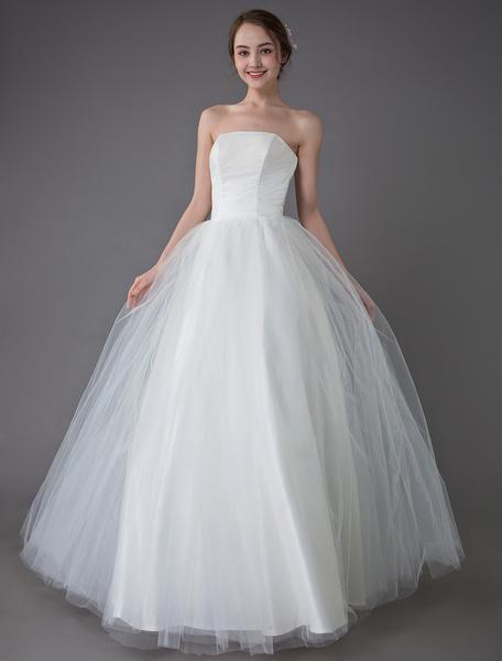 Milanoo Tulle Wedding Dress Ivory Strapless Sleeveless Princess Dress Ball Gown Floor Length Bridal Dress