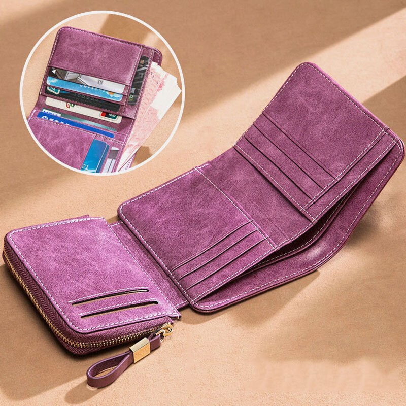 Women Genuine Leather Trifold 10 Card Slots Money Clip Wallet Purse Coin Purse