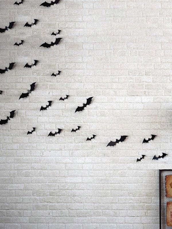 12 Piece Halloween Bat 3D Wall Stickers Set