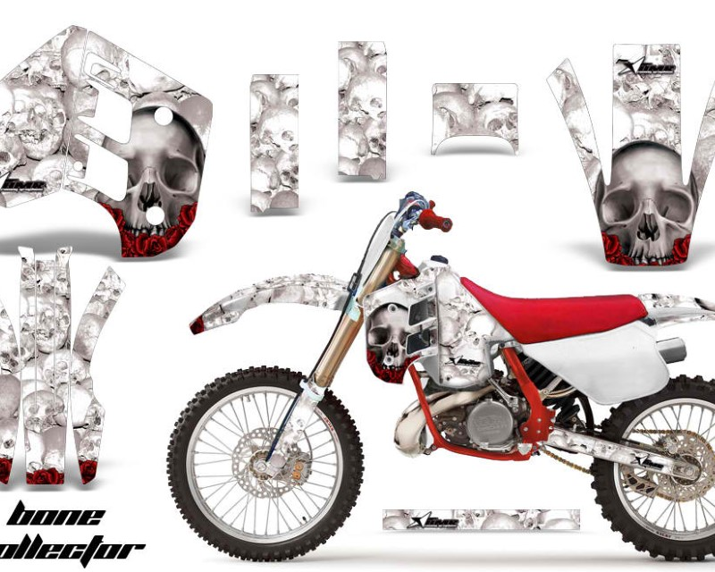 AMR Racing Decal Graphics Kit Wrap For KTM EXC250 EXC300 MXC250 MXC300 1990-1992áBONES WHITE