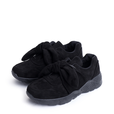 Yoins Black Bowknot Design Casual Suede Sneakers