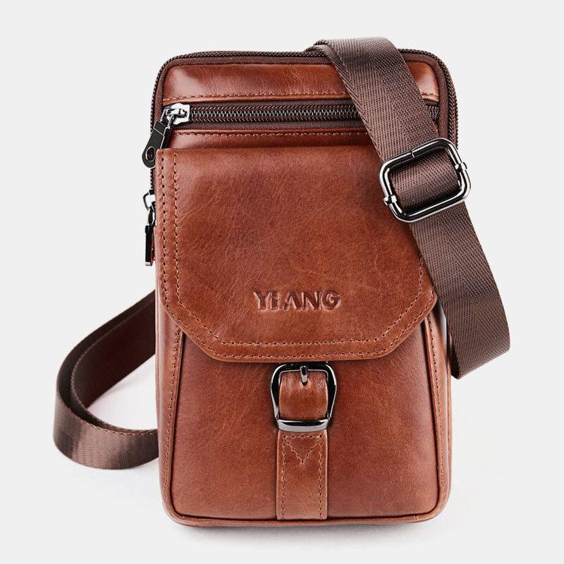 Men 6.5Inch Genuine Leather Crossbody Bag Belt Bag