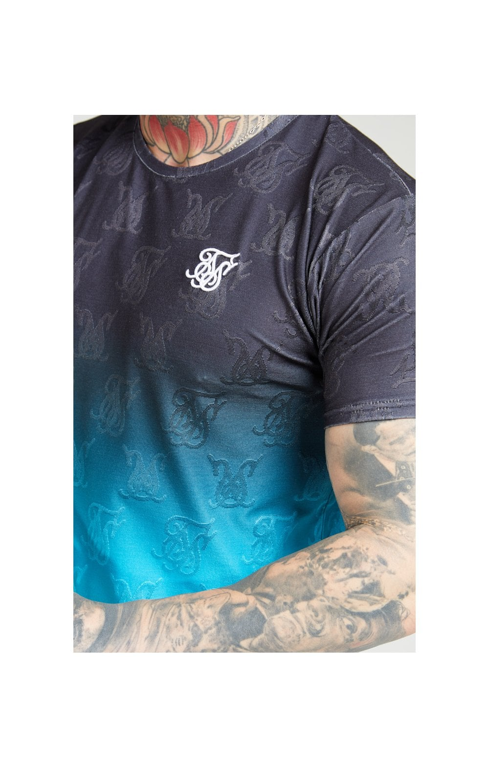 SikSilk Monogram Fade Gym Tee  Black & Teal MEN SIZES TOP: Extra L