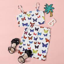 Cami Top mit Schmetterling Muster und Rock Set