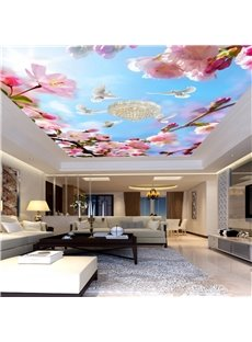 3D Pink Peach-blossoms Waterproof Durable and Eco-friendly Ceiling Murals