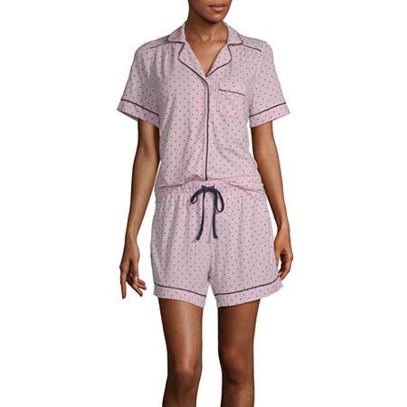 Liz Claiborne Womens Shorts Pajama Set 2-pc. Short Sleeve, X-large , Pink