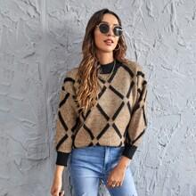 Pullover mit Argyle Muster und sehr tief angesetzter Schulterpartie
