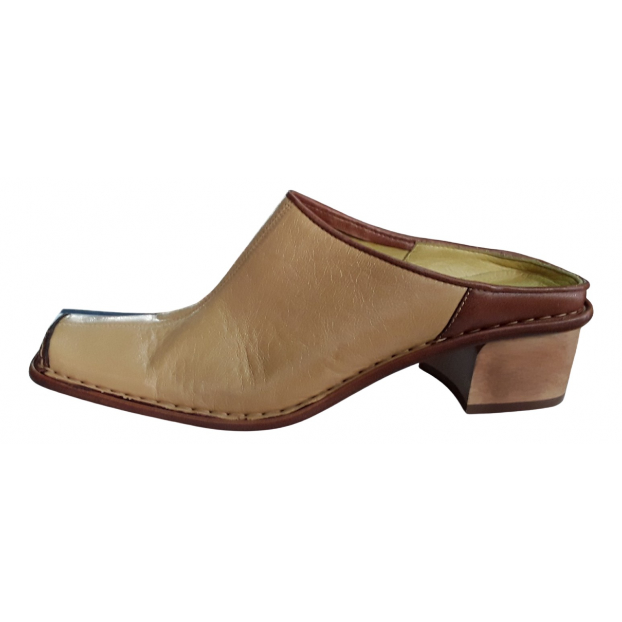 Non Signe / Unsigned Hippie Chic Clogs in  Beige Leder