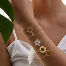 Flower Decor Chain Bracelet 5pcs