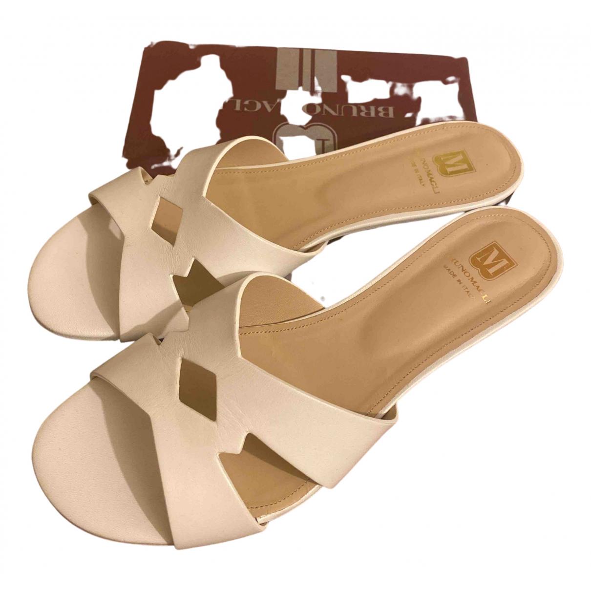Bruno Magli N White Leather Sandals for Women 40 EU