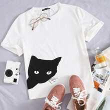 Cat Print Tee