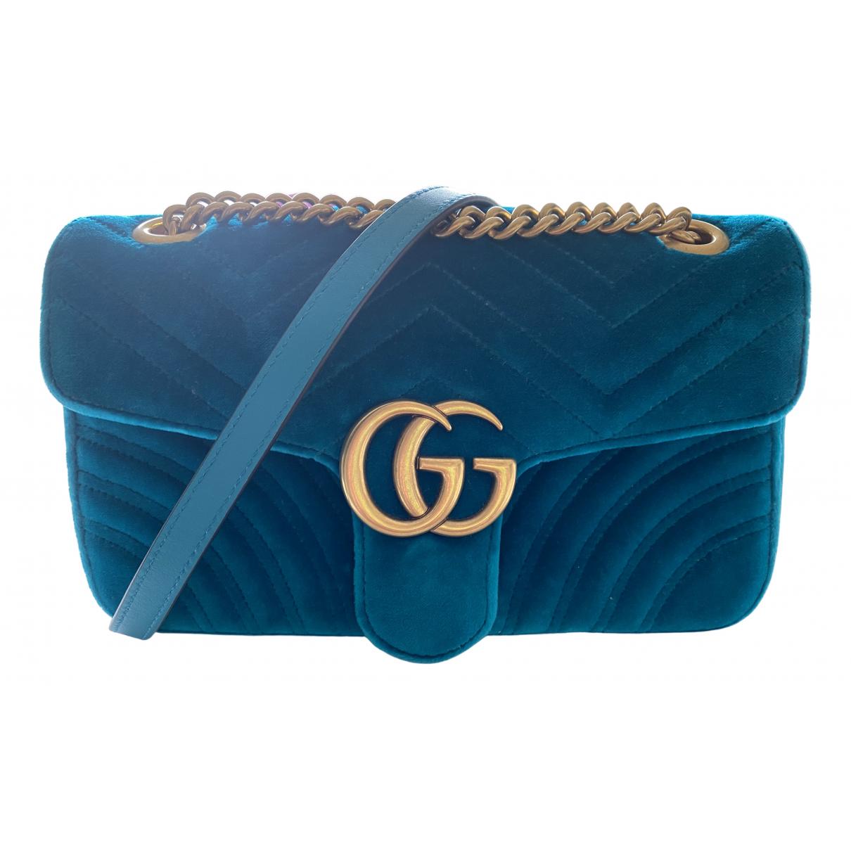 Gucci Marmont Turquoise Velvet handbag for Women \N