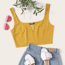 Notched Neck Crop Tank Top